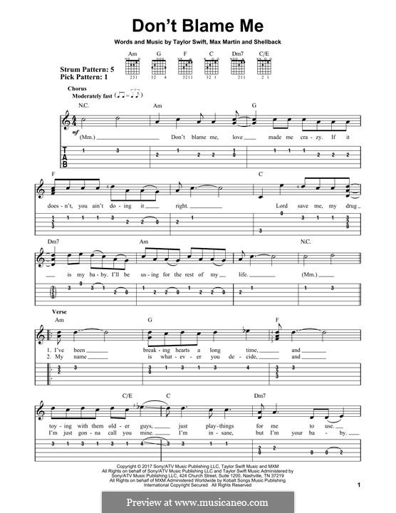 Don't Blame Me: Для гитары by Shellback, Max Martin, Taylor Swift