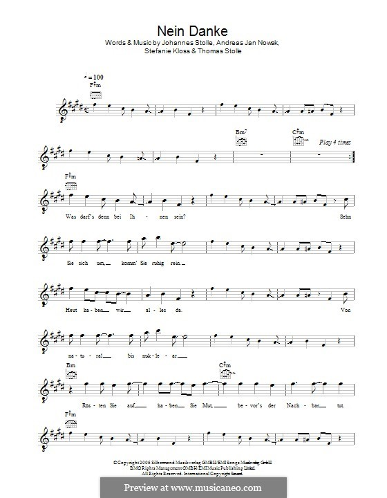 Nein Danke (Silbermond): Мелодия by Johannes Stolle, Thomas Stolle, Andreas Jan Nowak, Stefanie Kloss