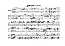 Квартет No.2 соль мажор: Версия для фортепиано в четыре руки – партии by Людвиг ван Бетховен