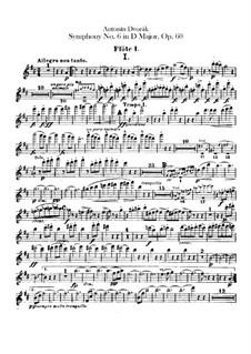 Симфония No.6 ре мажор, B.112 Op.60: Партии флейт by Антонин Дворжак