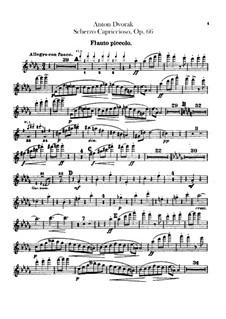 Скерцо каприччиозо, B.131 Op.66: Партии флейты piccolo by Антонин Дворжак