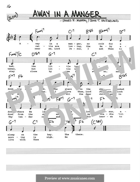 Away in a Manger (Printable Scores): Для гитары by Джеймс Р. Мюррей