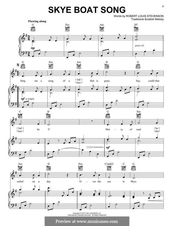 Skye Boat Song: Для голоса и фортепиано (или гитары) by folklore