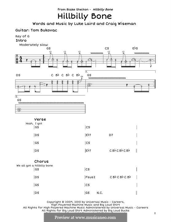 Hillbilly Bone (Blake Shelton featuring Trace Adkins): Для гитары by Craig Wiseman, Luke Laird