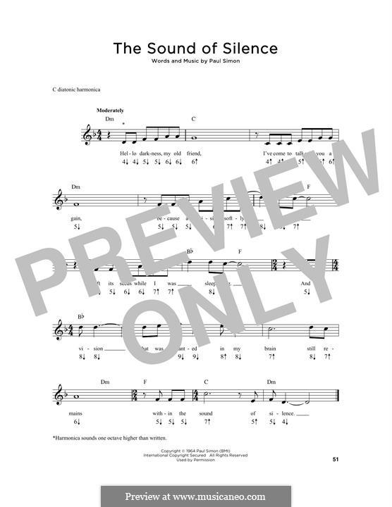 The Sound of Silence (Simon & Garfunkel): For harmonica by Paul Simon