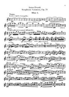 Симфонические вариации на песню 'Já jsem huslar', B.70 Op.78: Партии гобоев by Антонин Дворжак