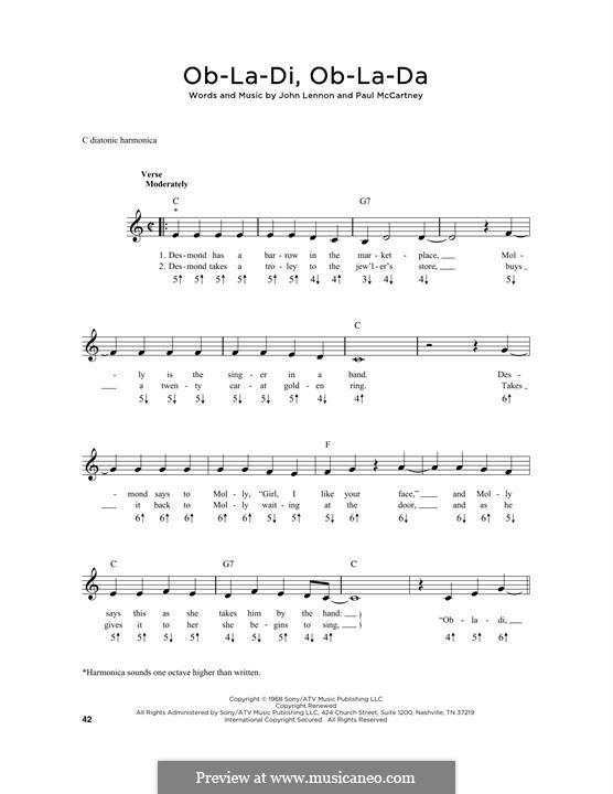 Ob-La-Di, Ob-La-Da (The Beatles): For harmonica by John Lennon, Paul McCartney