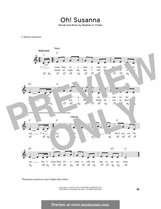 О, Сюзанна: For harmonica by Стефен Фостер
