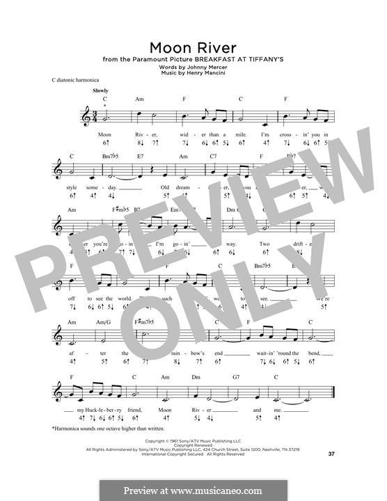 Лунная река (из фильма 'Завтрак у Тиффани'): For harmonica by Henry Mancini