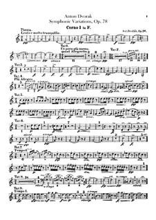 Симфонические вариации на песню 'Já jsem huslar', B.70 Op.78: Партии валторн by Антонин Дворжак