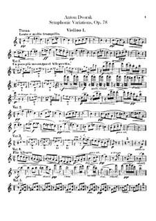 Симфонические вариации на песню 'Já jsem huslar', B.70 Op.78: Скрипка I by Антонин Дворжак