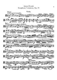 Симфонические вариации на песню 'Já jsem huslar', B.70 Op.78: Партия альта by Антонин Дворжак