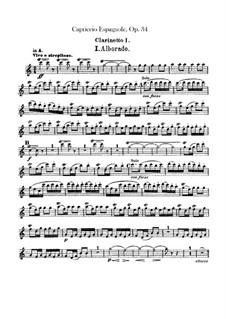 Испанское каприччио, Op.34: Партия кларнета by Николай Римский-Корсаков
