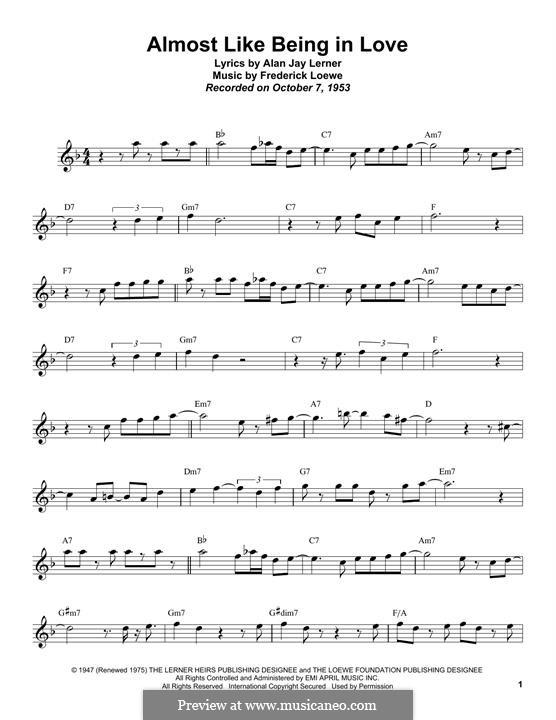 Almost Like Being in Love: Для тенорового саксофона by Frederick Loewe