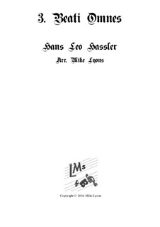Cantiones Sacrae: No.03 Beati Omnes, for brass quartet by Ханс Лео Хасслер
