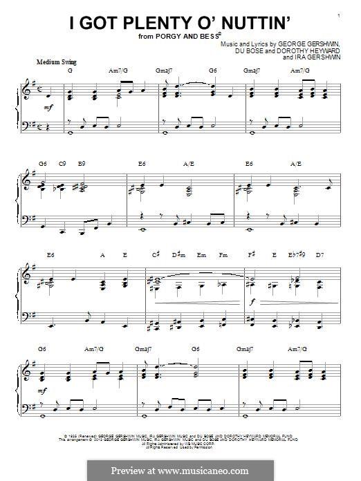 I Got Plenty O' Nuttin': Для фортепиано by Джордж Гершвин