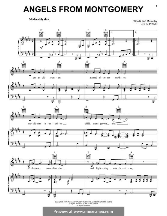 Angels from Montgomery: Для голоса и фортепиано (или гитары) by John Prine