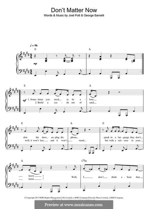 Don't Matter Now: Для фортепиано by Joel Pott, George Ezra Barnett