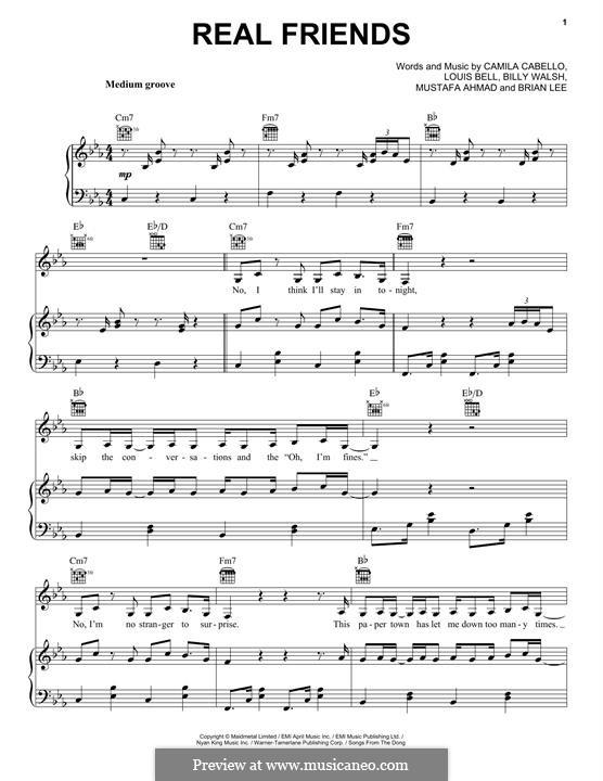 Real Friends: Для голоса и фортепиано (или гитары) by Brian Lee, Billy Walsh, Louis Bell, Camila Cabello, Mustafa Ahmad