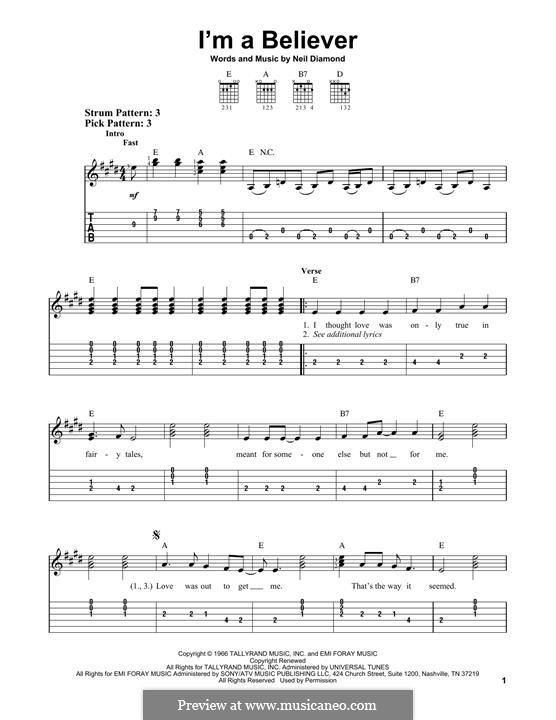 I'm a Believer: Для гитары by Neil Diamond