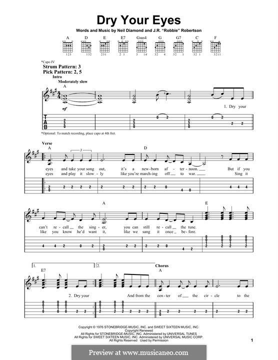 Dry Your Eyes: Гитарная табулатура by Neil Diamond, Robbie Robertson