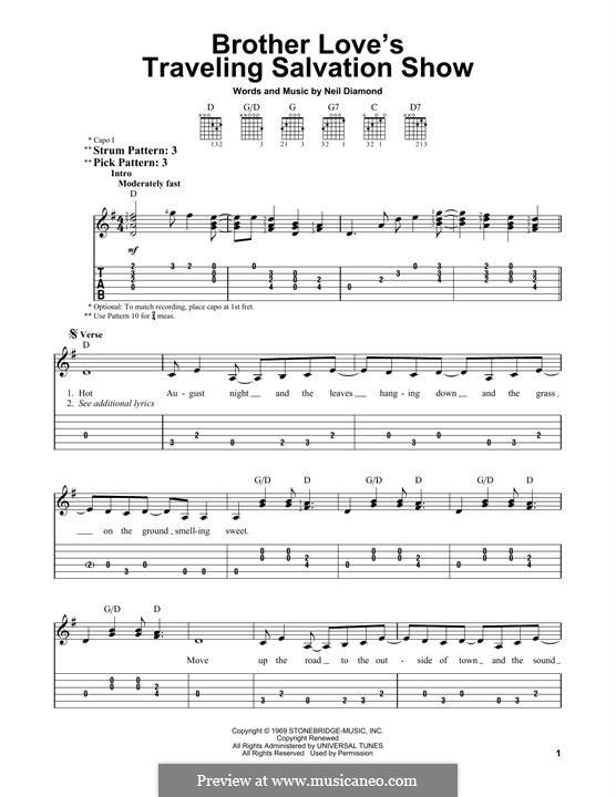 Brother Love's Traveling Salvation Show: Для гитары by Neil Diamond