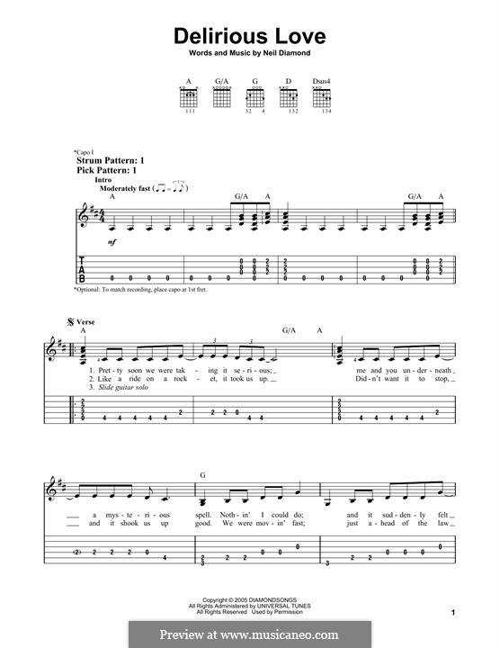 Delirious Love: Для гитары by Neil Diamond