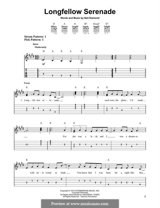 Longfellow Serenade: Для гитары by Neil Diamond