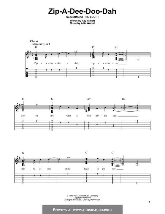 Zip-A-Dee-Doo-Dah: Гитарная табулатура by Allie Wrubel