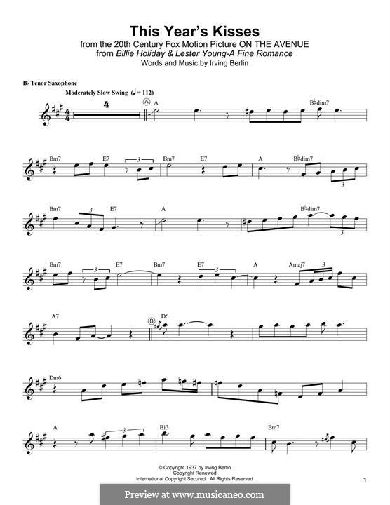 This Year's Kisses: Для тенорового саксофона by Ирвинг Берлин