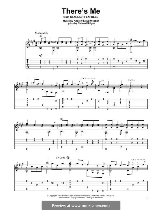 There's Me: Гитарная табулатура by Andrew Lloyd Webber