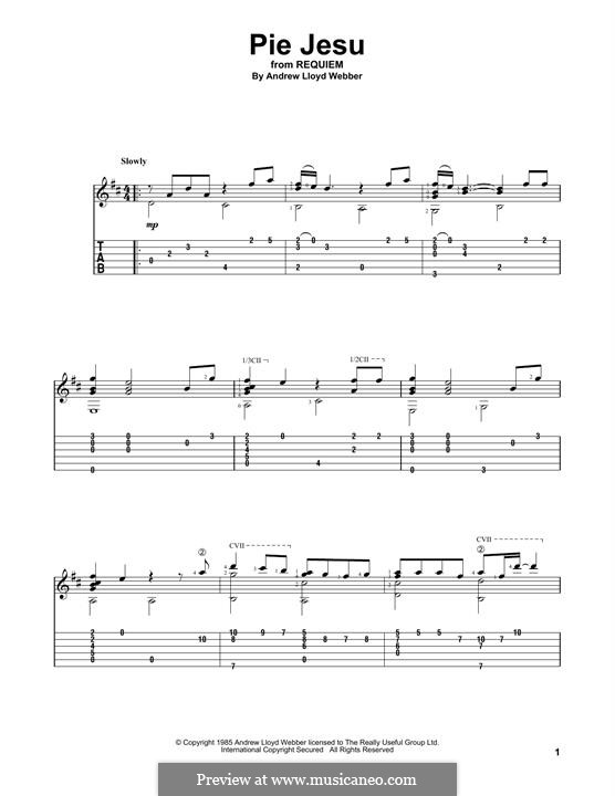 Pie Jesu (from Requiem): Гитарная табулатура by Andrew Lloyd Webber
