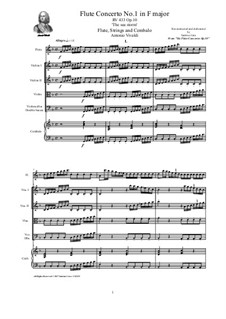 Six Flute Concertos for Flute, Strings and Cembalo, Op.10: Concerto No.1 in F major – score, parts, RV 433 by Антонио Вивальди