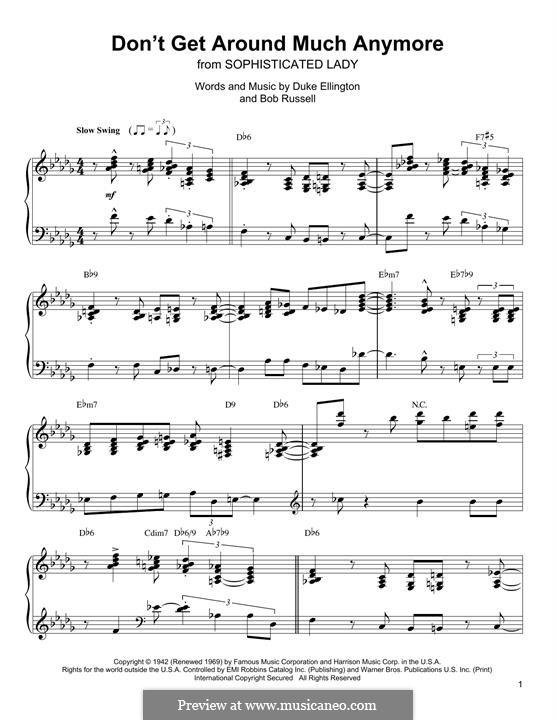 Don't Get Around Much Anymore: Для фортепиано by Duke Ellington