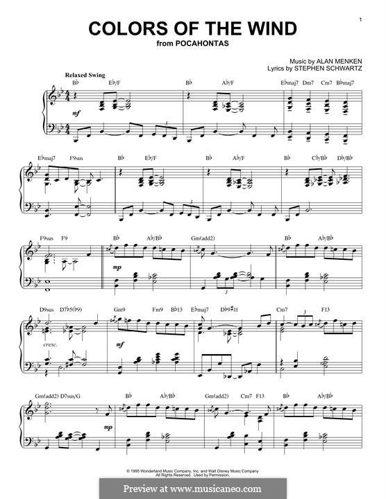 Colors of the Wind: Для фортепиано by Alan Menken