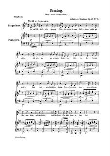 Пять песен, Op.47: No.3 Воскресенье by Иоганнес Брамс