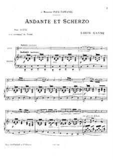 Анданте и Скерцо для флейты и фортепиано: Партитура by Луи Ганне