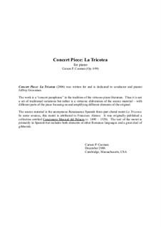 Concert Piece: La Tricotea for piano, Op.699: Concert Piece: La Tricotea for piano by Carson Cooman