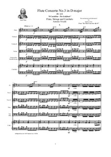Six Flute Concertos for Flute, Strings and Cembalo, Op.10: Concerto No.3 in D major 'Il Cardellino' – score, parts, RV 428 by Антонио Вивальди