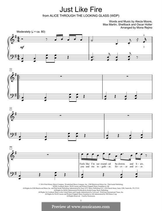 Just Like Fire: Для фортепиано (легкий уровень) by Shellback, Alecia Moore, Max Martin