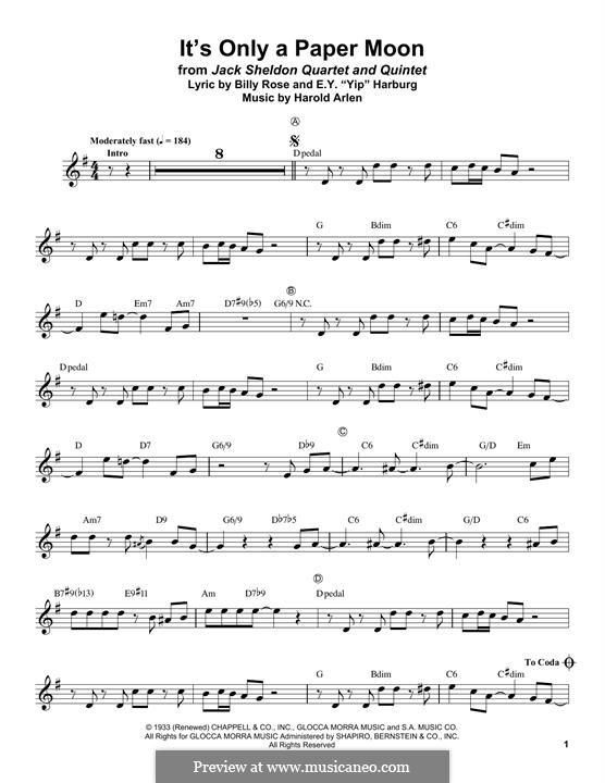 It's Only a Paper Moon: Для трубы by Harold Arlen