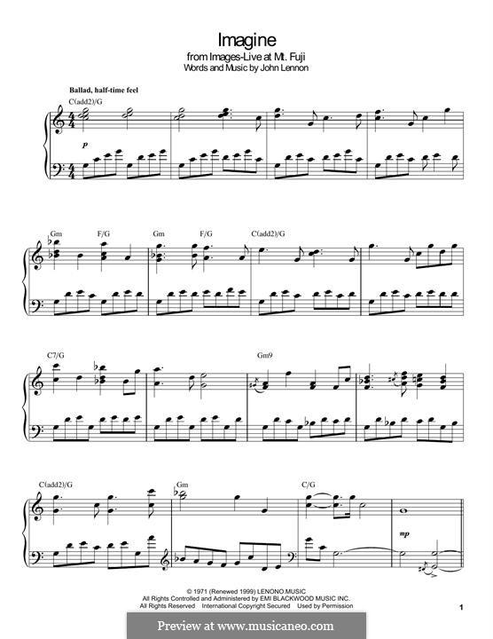 Imagine, for Piano: Для одного исполнителя by John Lennon