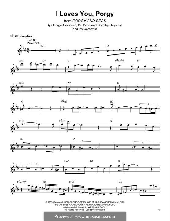 I Loves You, Porgy: Для альтового саксофона by Джордж Гершвин