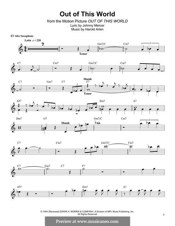 Out of This World: Для альтового саксофона by Harold Arlen