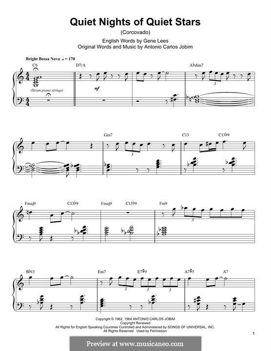 Corcovado (Quiet Nights of Quiet Stars): For piano (Oscar Peterson) by Antonio Carlos Jobim