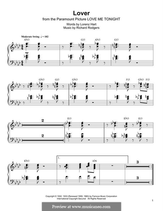 Lover: For piano (Oscar Peterson) by Richard Rodgers