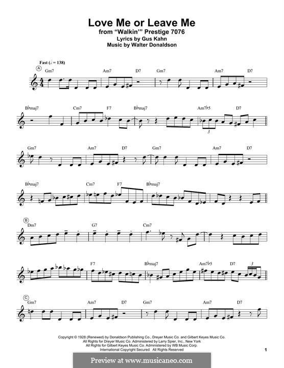 Love Me or Leave Me: Для трубы by Уолтер Дональдсон