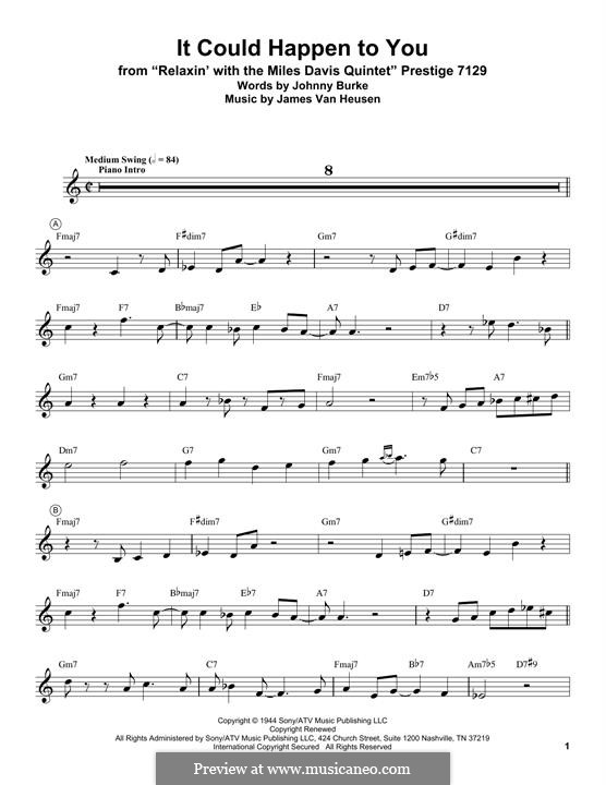 It Could Happen to You: For trumpet (Miles Davis) by Jimmy Van Heusen