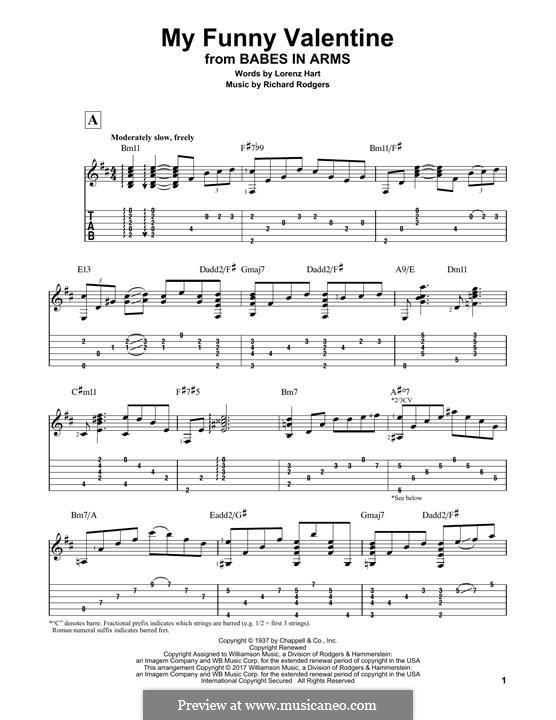 My Funny Valentine: Гитарная табулатура by Richard Rodgers
