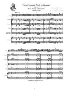 Six Flute Concertos for Flute, Strings and Cembalo, Op.10: Concerto No.6 in G major – score, parts, RV 437 by Антонио Вивальди